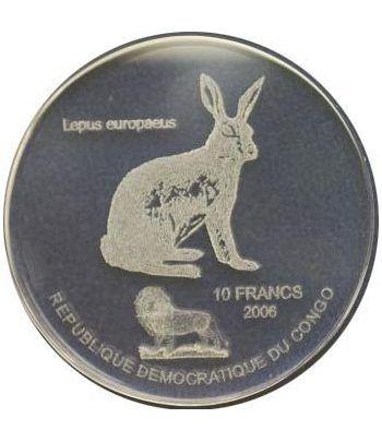 Congo 10 Francs 2006 Lepus europeus. Holograma en vidrio.  - 2