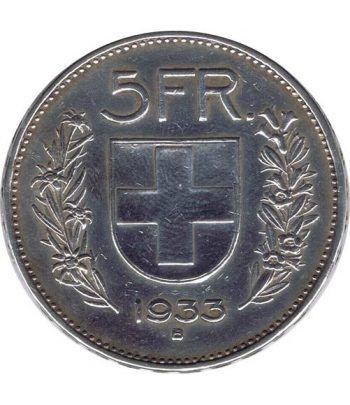 Moneda de plata 5 francos Suiza 1933. Confederatio Helvetica.  - 1