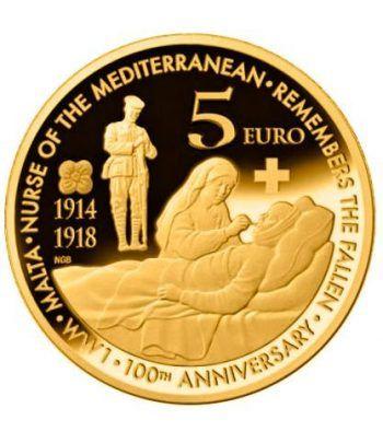 moneda Malta 5 Euros 2014 100 Años Primera Guerra Mundial  - 1