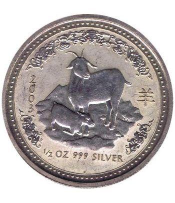 Moneda media onza de plata 1/2$ Australia Lunar 2003 Cabra  - 1