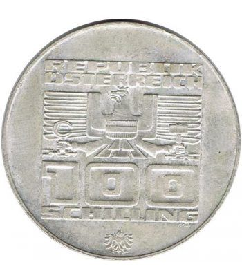 Moneda de plata 100 schilling Austria 1975 JJOO Innsbruck 1976.  - 2
