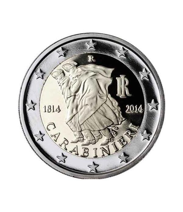moneda conmemorativa 2 euros Italia 2014. Carabinieri.  - 2