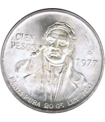 Moneda de plata 100 pesos Mexico 1977. Sin Circular.  - 1