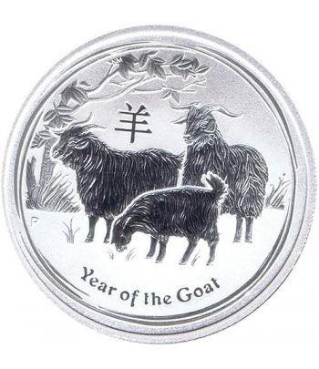 Moneda onza de plata 1$ Australia Lunar Cabra 2015  - 2