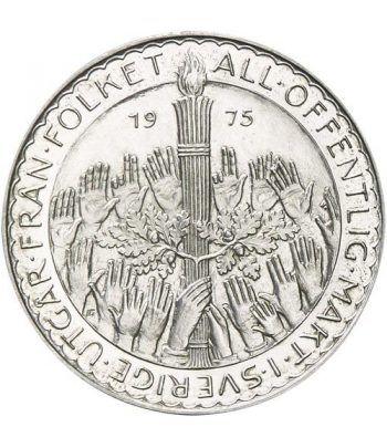Moneda de plata 50 coronas Suecia 1975 Nueva Constitución.  - 1