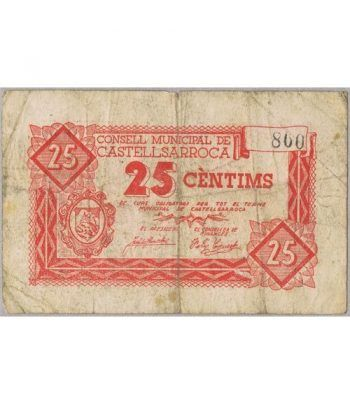 (1937) 25 centims Consell Municipal de Castellsarroca. MBC  - 1