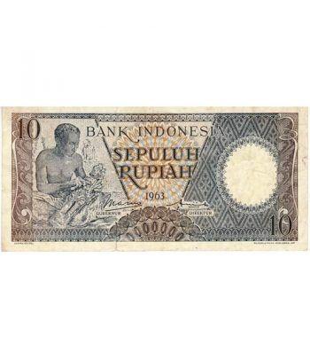 Indonesia 10 Rupiah. Sepuluh Rupiah 1963. SC.  - 1