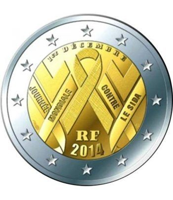 moneda conmemorativa 2 euros Francia 2014. Sida.  - 2