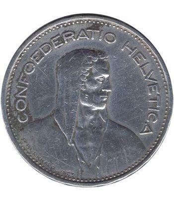 Moneda de plata 5 francos Suiza 1935. Confederación Helvética.  - 2