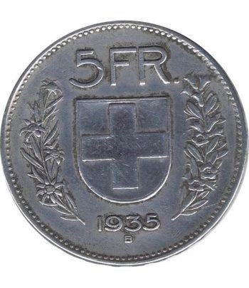 Moneda de plata 5 francos Suiza 1935. Confederación Helvética.  - 4