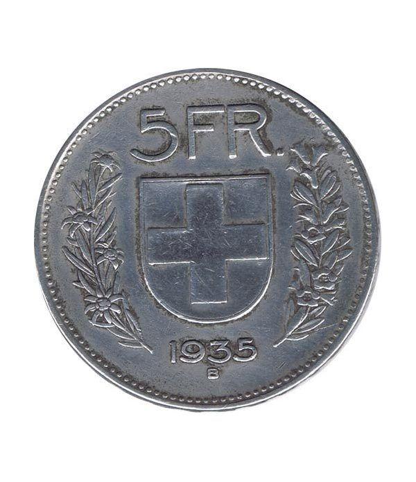 Moneda de plata 5 francos Suiza 1935. Confederación Helvética.  - 1