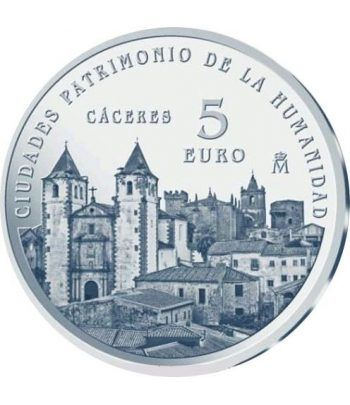 Moneda 2014 Patrimonio de la Humanidad. Cáceres. 5 euros.  - 1