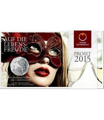 moneda Austria 5 Euros 2015 Año Nuevo. Plata.  - 1