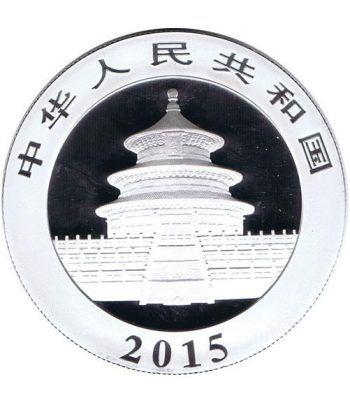 Moneda onza de plata color 10y. China Oso Panda 2015  - 2