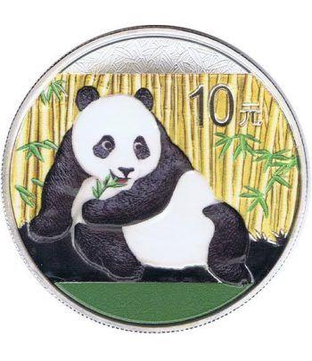 Moneda onza de plata color 10y. China Oso Panda 2015  - 4