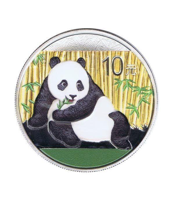 Moneda onza de plata color 10y. China Oso Panda 2015  - 1