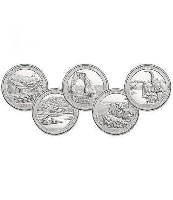 E.E.U.U. 1/4$ 2014 Parques Nacionales (5 monedas) ceca D.  - 2