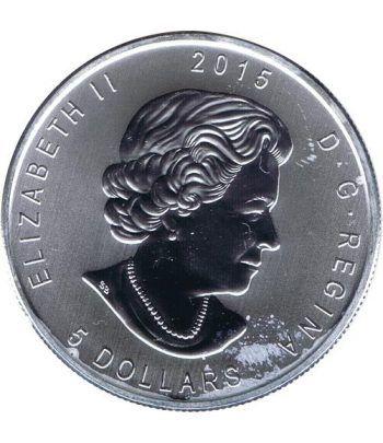 Moneda onza de plata 5$ Canada Halcon Cola Roja 2015.  - 2