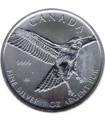 Moneda onza de plata 5$ Canada Halcon Cola Roja 2015.  - 4