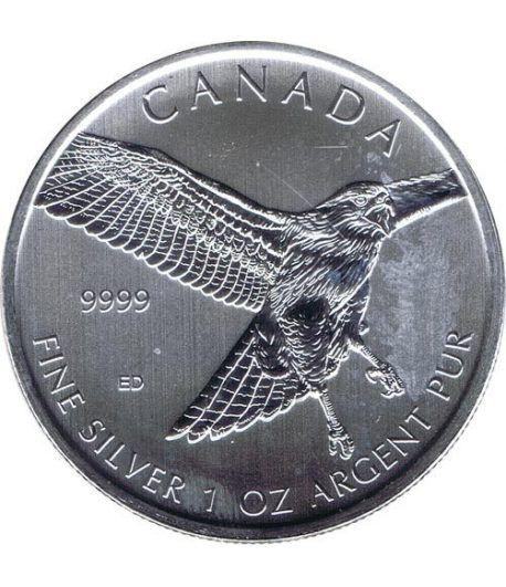 Moneda onza de plata 5$ Canada Halcon Cola Roja 2015.  - 1