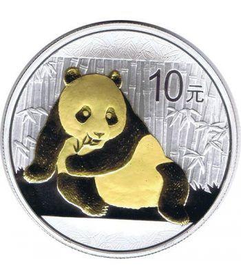 Moneda Onza de Plata y Oro 10y. China Oso Panda 2015  - 1
