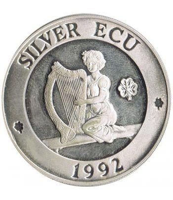 Moneda de plata Silver ECU Europa Nueva Irlanda 1992 Piedfort.  - 1
