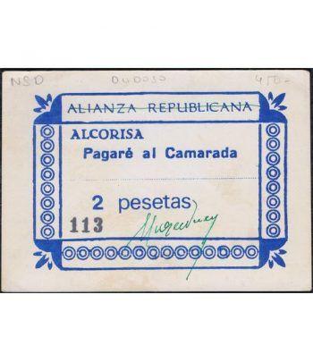 2 pesetas Alianza Republicana Alcorisa.  Pagaré al camarada.  - 2
