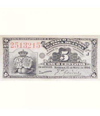 Cuba 5 Centavos 1896 Banco Español Isla de Cuba. SC.  - 1