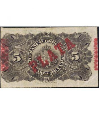 Cuba 5 Pesos 1896 Banco Español Isla de Cuba. MBC.  - 2