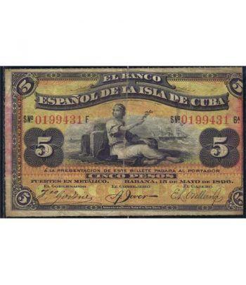 Cuba 5 Pesos 1896 Banco Español Isla de Cuba. MBC.  - 4