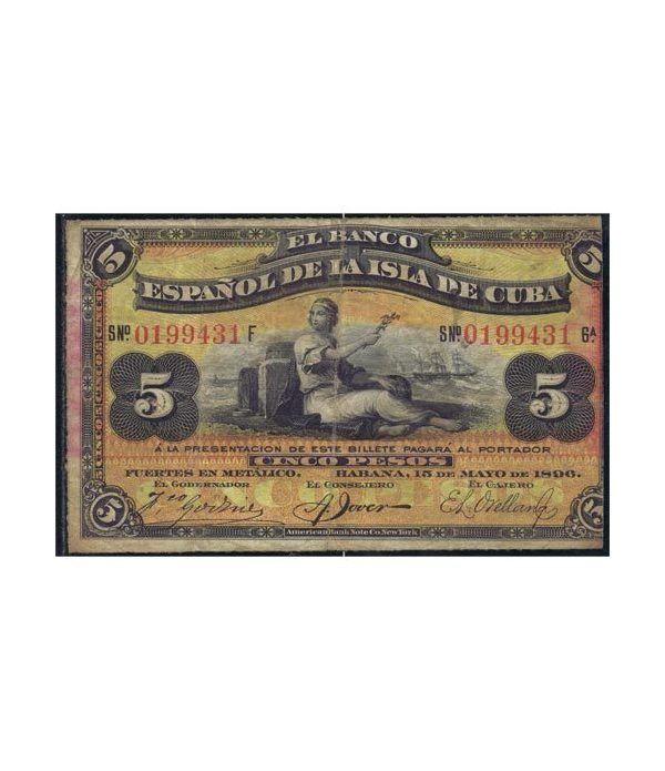 Cuba 5 Pesos 1896 Banco Español Isla de Cuba. MBC.  - 1