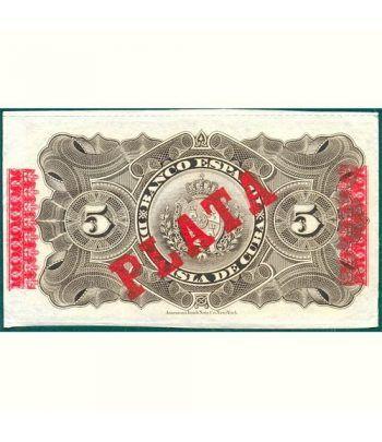 Cuba 5 Pesos 1896 Banco Español Isla de Cuba. EBC.  - 2