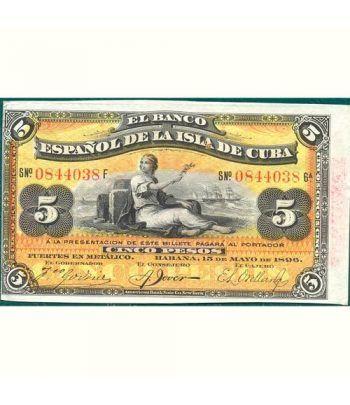 Cuba 5 Pesos 1896 Banco Español Isla de Cuba. EBC.  - 1