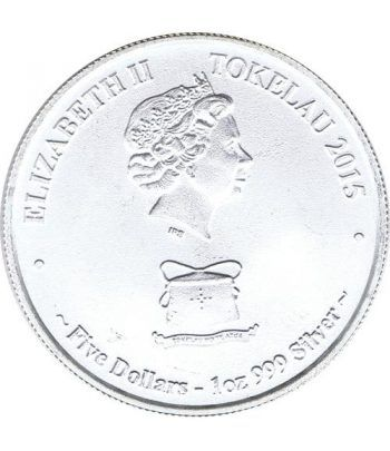 Moneda onza de plata 5$ Tokelau. Tiburón Blanco 2015.  - 2
