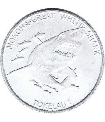 Moneda onza de plata 5$ Tokelau. Tiburón Blanco 2015.  - 4
