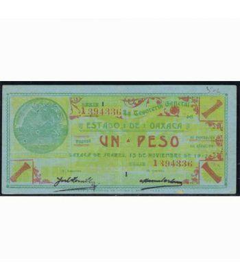 Oaxaca de Juarez 1 peso 15 noviembre 1915. Azul. EBC.  - 2