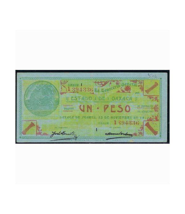 Oaxaca de Juarez 1 peso 15 noviembre 1915. Azul. EBC.  - 1