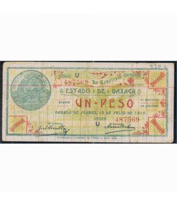 Oaxaca de Juarez 1 peso 19 julio 1915. MBC  - 1