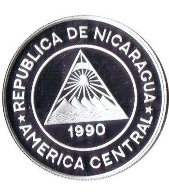 Moneda de plata 10000 Cordobas Nicaragua 1990 Albertville'92.  - 2