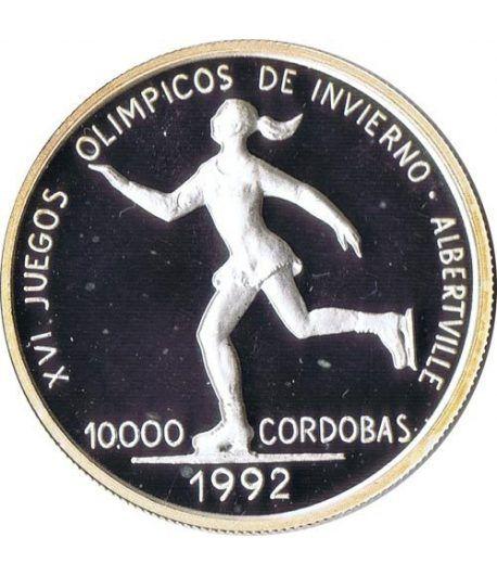 Moneda de plata 10000 Cordobas Nicaragua 1990 Albertville'92.  - 1