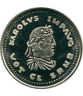Moneda de plata 5 Ecu Belgica 1991 Carlomagno. Estuche  - 1