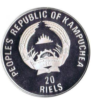 Moneda de plata 20 Riels Kampuchea 1989 Albertville'92 Ski.  - 2