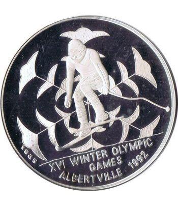 Moneda de plata 20 Riels Kampuchea 1989 Albertville'92 Ski.  - 4