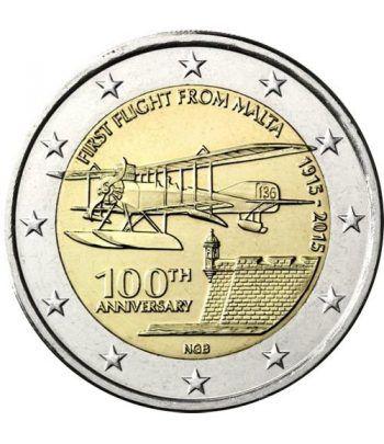 moneda conmemorativa 2 euros Malta 2015 Primer vuelo.  - 2