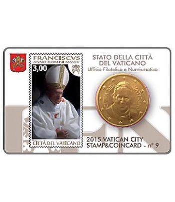 Cartera oficial euroset Vaticano 2015 (moneda 50cts y sello 3€)  - 2