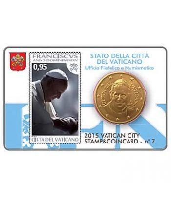 Cartera oficial euroset Vaticano 2015 (moneda 50cts y sello 95ct  - 2