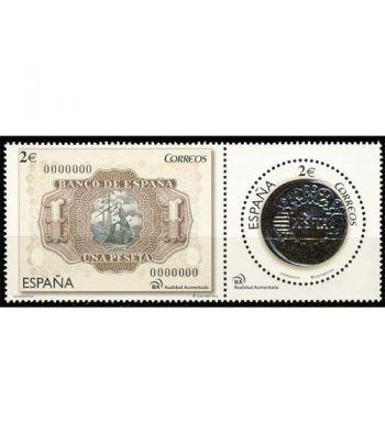 4919/20 Numismática. Billete y moneda de 1 peseta  - 2