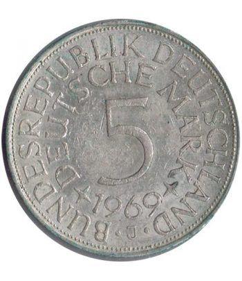 Moneda de Plata 5 Marcos Alemania 1969 J.  - 1