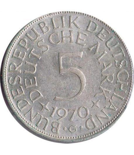 Moneda de Plata 5 Marcos Alemania 1970 G.  - 1