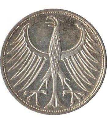Moneda de Plata 5 Marcos Alemania 1972 G.  - 2